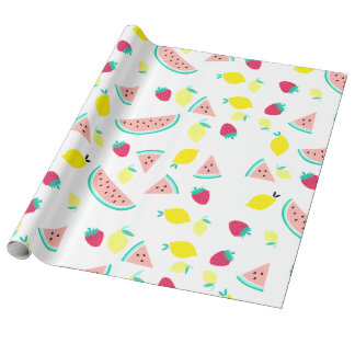 cute colorful summer fruits pattern wrapping paper