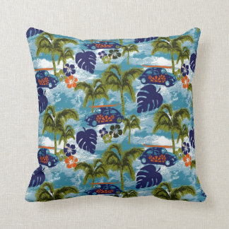 Cute Colorful Surf Waves Hawaii Pattern Cushion