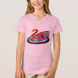cute colorful swan woman's t-shirt top design