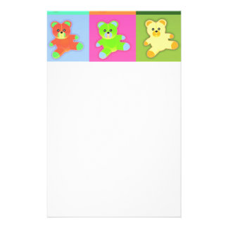 CUTE COLORFUL TEDDY BEAR COLLECTION PATTERN SQUARE CUSTOMIZED STATIONERY