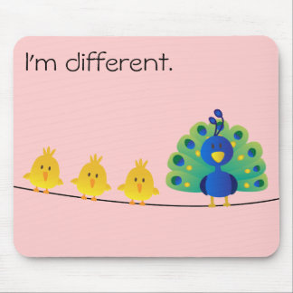 Cute & colorful toon of birds and a peacock mouse pad