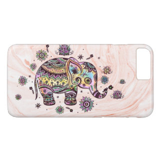 Cute Colorful Tribal Elephant On Rose-Gold Marble iPhone 8 Plus/7 Plus Case