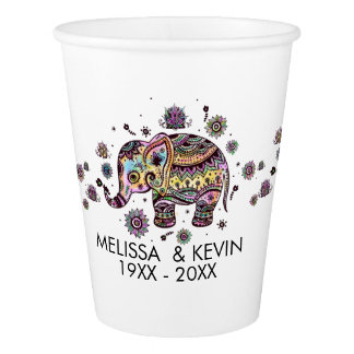 Cute Colorful Tribal Flowers Elephant Paper Cup