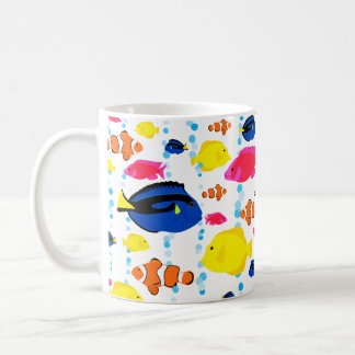 Cute Colorful Tropical Fish and Bubbles Coffee Mug