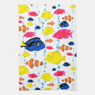 Cute Colorful Tropical Fish and Bubbles Tea Towel