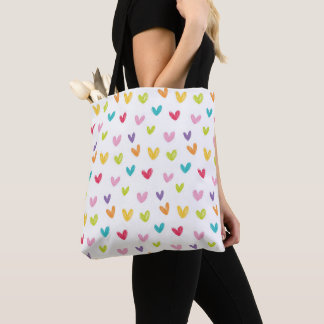 Cute Colorful Valentines Hearts Seamless Pattern Tote Bag