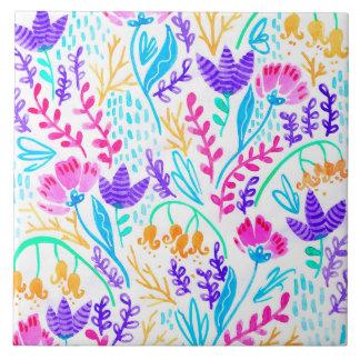 Cute colorful watercolor flowers ceramic tile