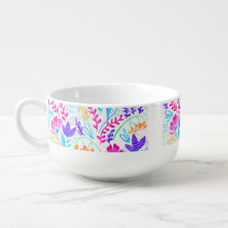 Cute colorful watercolor flowers soup mug