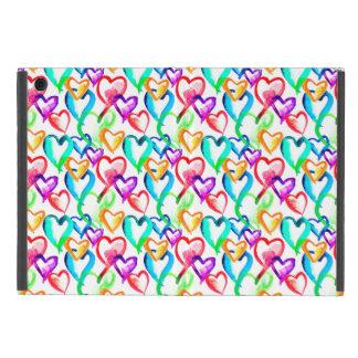 Cute colorful watercolor hearts pattern iPad mini cover