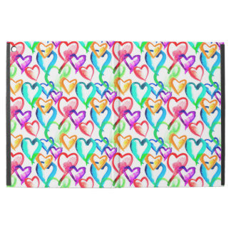 "Cute colorful watercolor hearts pattern iPad pro 12.9"" case"