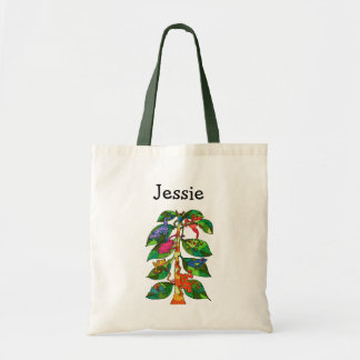 Cute Colorful Whimsical Tree Frogs Monogram Name Tote Bag