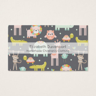 Cute Colorful Wild Animals Nursery Art Business Card