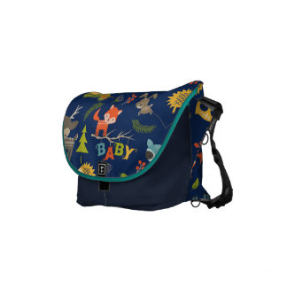 Cute Colorful Woodland Animals 7 Trees Pattern Courier Bag