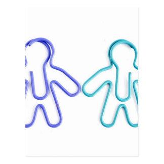 cute coloured paperclip men postcard