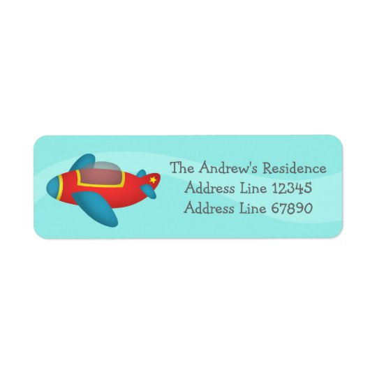 Cute Colourful Aeroplane Jet for Kids Return Address Label