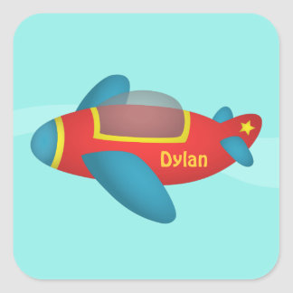 Cute Colourful Aeroplane Jet for Kids Square Sticker
