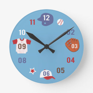 Cute Colourful Baseball Theme Boys Room Clock