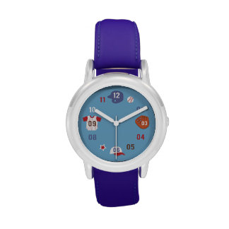 Cute Colourful Baseball Theme Wrist Watches