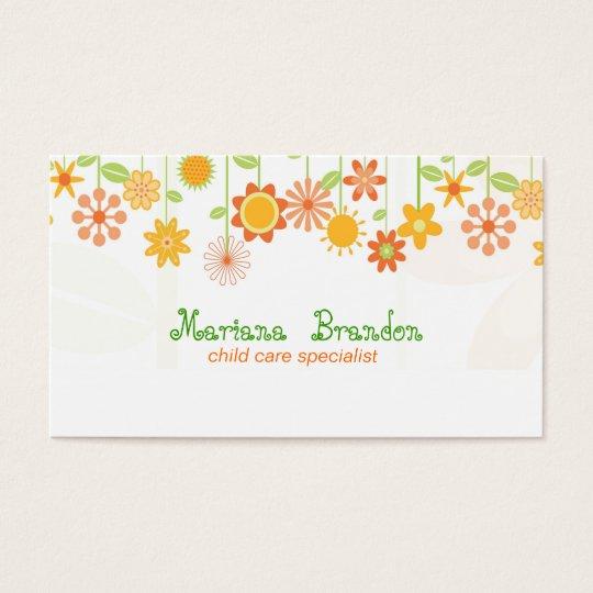 Cute Colourful Cartoon Flowers Business Card