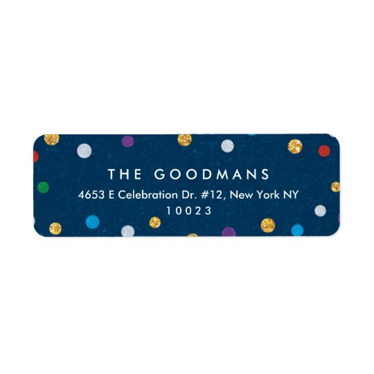 Cute Colourful Confetti Holiday / Party Return Address Label