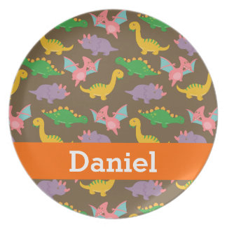 Cute Colourful Dinosaur Pattern for Kids Plate