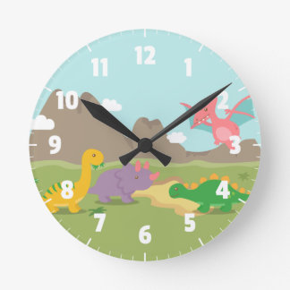 Cute Colourful Dinosaurs For kids Bedroom Round Clock