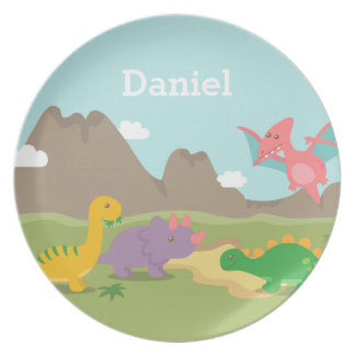 Cute Colourful Dinosaurs For kids Plate