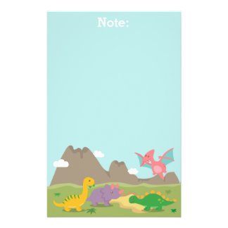 Cute Colourful Dinosaurs For Kids Stationery Paper