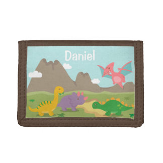 Cute Colourful Dinosaurs For Kids Trifold Wallet