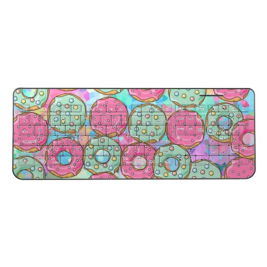 Cute Colourful Donnuts Pastel Pink Blue Fritter Wireless Keyboard