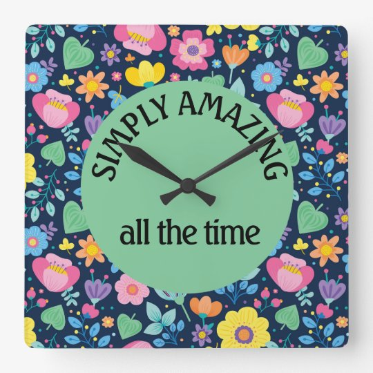 Cute Colourful Floral on Navy Blue Simply Amazing Square Wall Clock