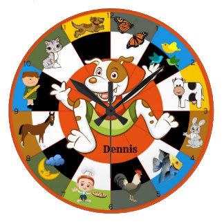 Cute Colourful Kids Animal Wall Clock