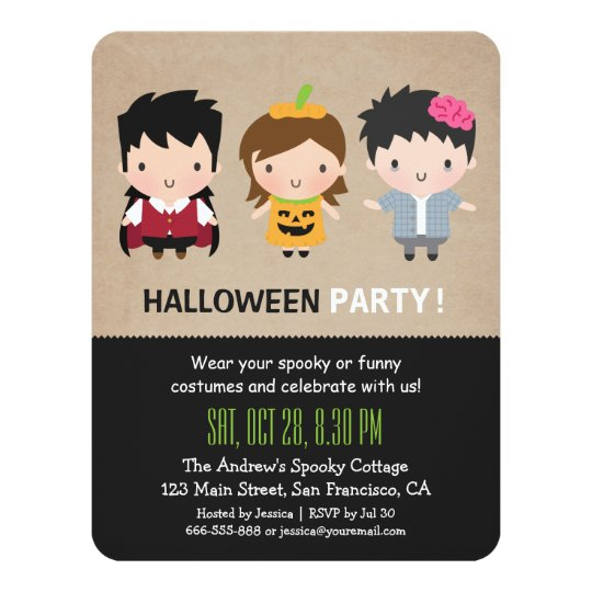 Cute Colourful Kids Halloween Party Invitations