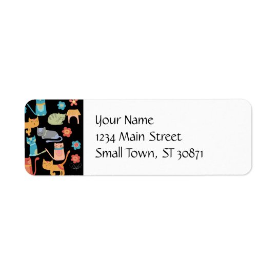 Cute Colourful Kitty Cats Gifts for Cat Lovers Return Address Label