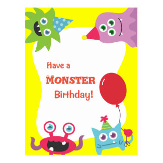 Cute Colourful Little Monster Happy Birthday Post Cards