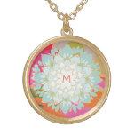 Cute Colourful Lotus Flower Monogram Round Pendant Necklace