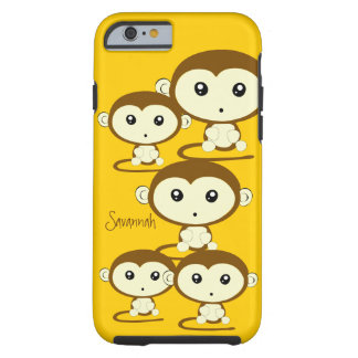 Cute Colourful Monkeys Change Yellow to any Colour Tough iPhone 6 Case