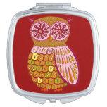 Cute Colourful Owl Compact Mirror - Retro Owl Art!