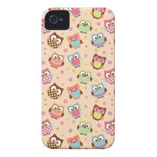 Cute Colourful Owls iPhone Case (pale apricot) Case-Mate iPhone 4 Case