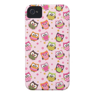 Cute Colourful Owls iPhone Case (Pink) Case-Mate iPhone 4 Cases