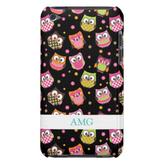 Cute Colourful Owls on Black Barely There iPod Case