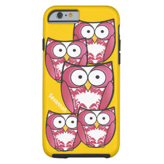 Cute Colourful Pink Owls Change Yellow to any Tough iPhone 6 Case