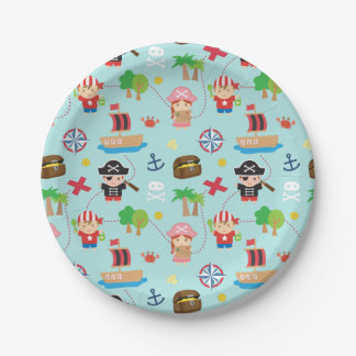 Cute Colourful Pirate Pattern Kids Birthday Party Paper Plate