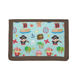 Cute Colourful Pirate Treasure Pattern For Kids Tri-fold Wallets