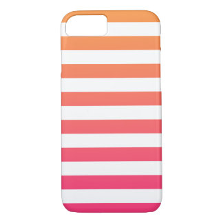Cute Colourful Preppy Orange Pink White Stripes iPhone 7 Case