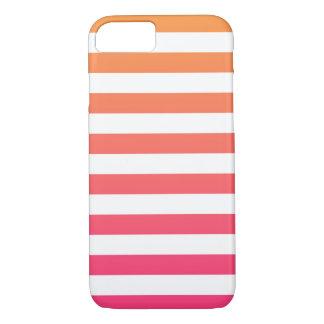Cute Colourful Preppy Orange Pink White Stripes iPhone 8/7 Case