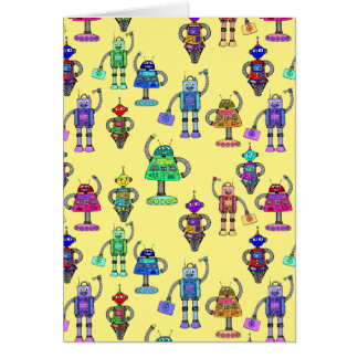 Cute colourful robots on yellow background card