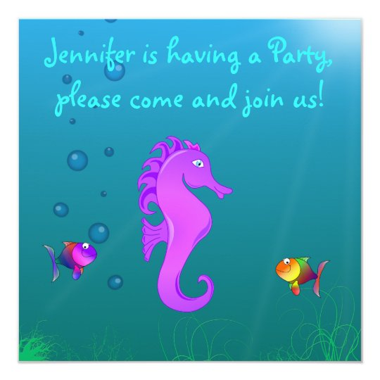 Cute & Colourful Seahorse Cartoon Children's Party Card