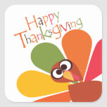 Cute Colourful Turkey Happy Thanksgiving Sticker