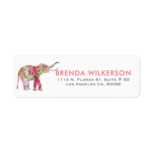 Cute Colourful Watercolors Flowers Elephant Return Address Label